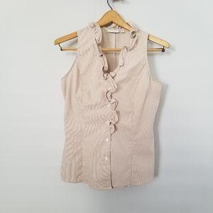 💋 New York & Company Tan pinstripe top size S